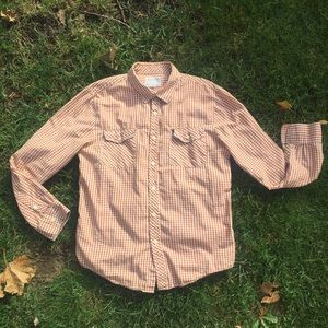 Warp + Weft Brown/White Long Sleeve Button Down